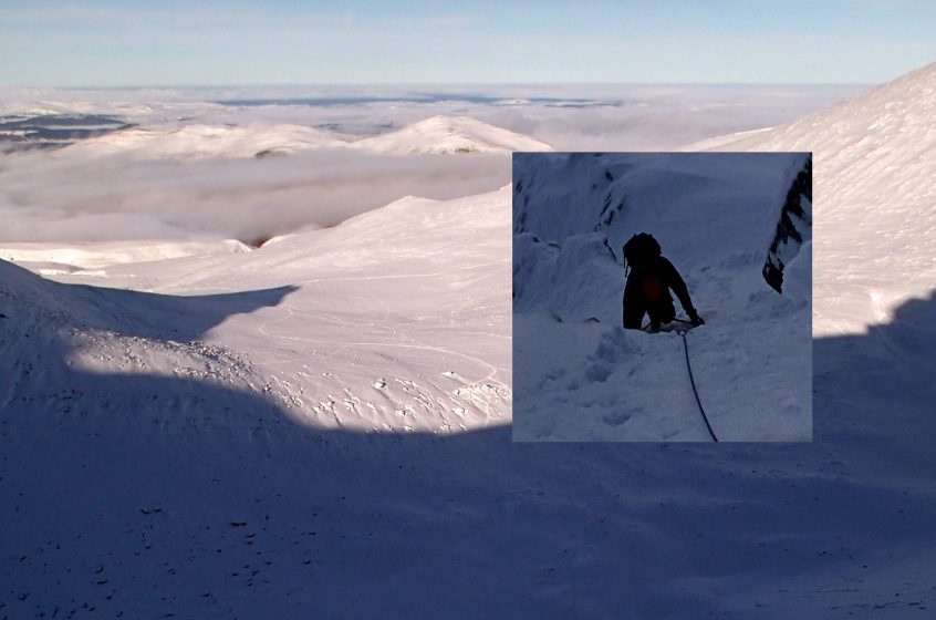 Climbing in Cairngorms above the cloud